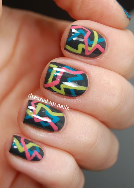 Dressed Up Nails - 80s party nail art
