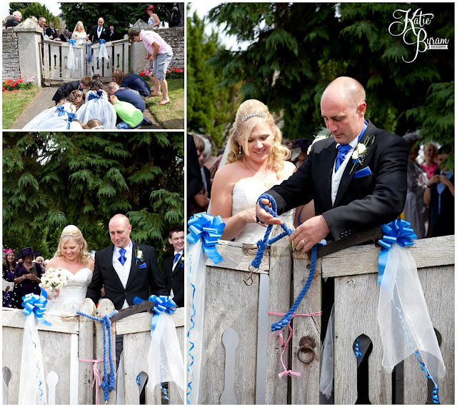 wedding tradition, tying the gate, whitley chapel, st helens church wedding, whitley chapel wedding, curly farmer, katie byram photographer, one digital image, northumberland wedding photographer, wedding wellies, wedding jewellery