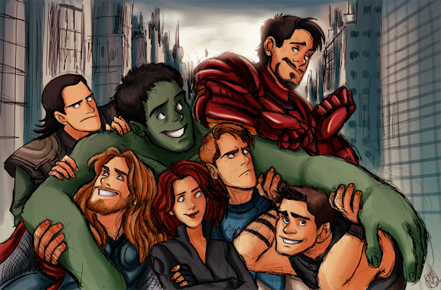 Thor Loki Black Widow Hawkeye Captain America 2 Iron Man tony stark awesome fan art marvel cinematic universe