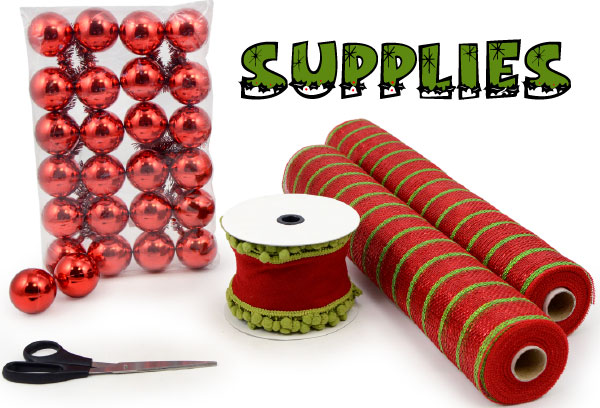Supplies for decorating a Christmas tree with mesh and tinsel ball ties