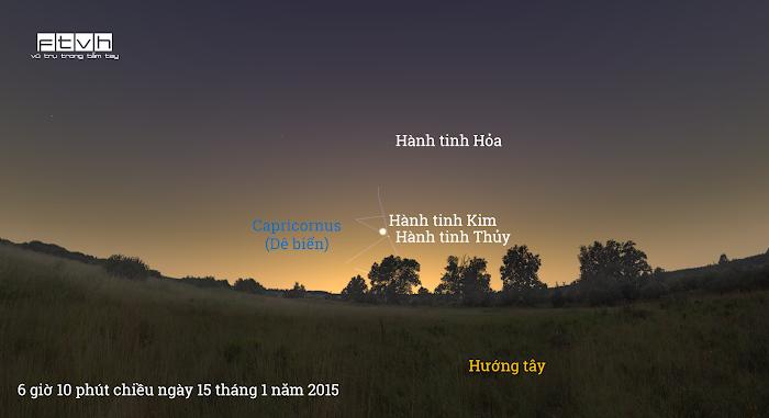 Minh họa bầu trời hướng tây lúc 6 giờ 10 phút chiều ngày 15 tháng 1 năm 2015.