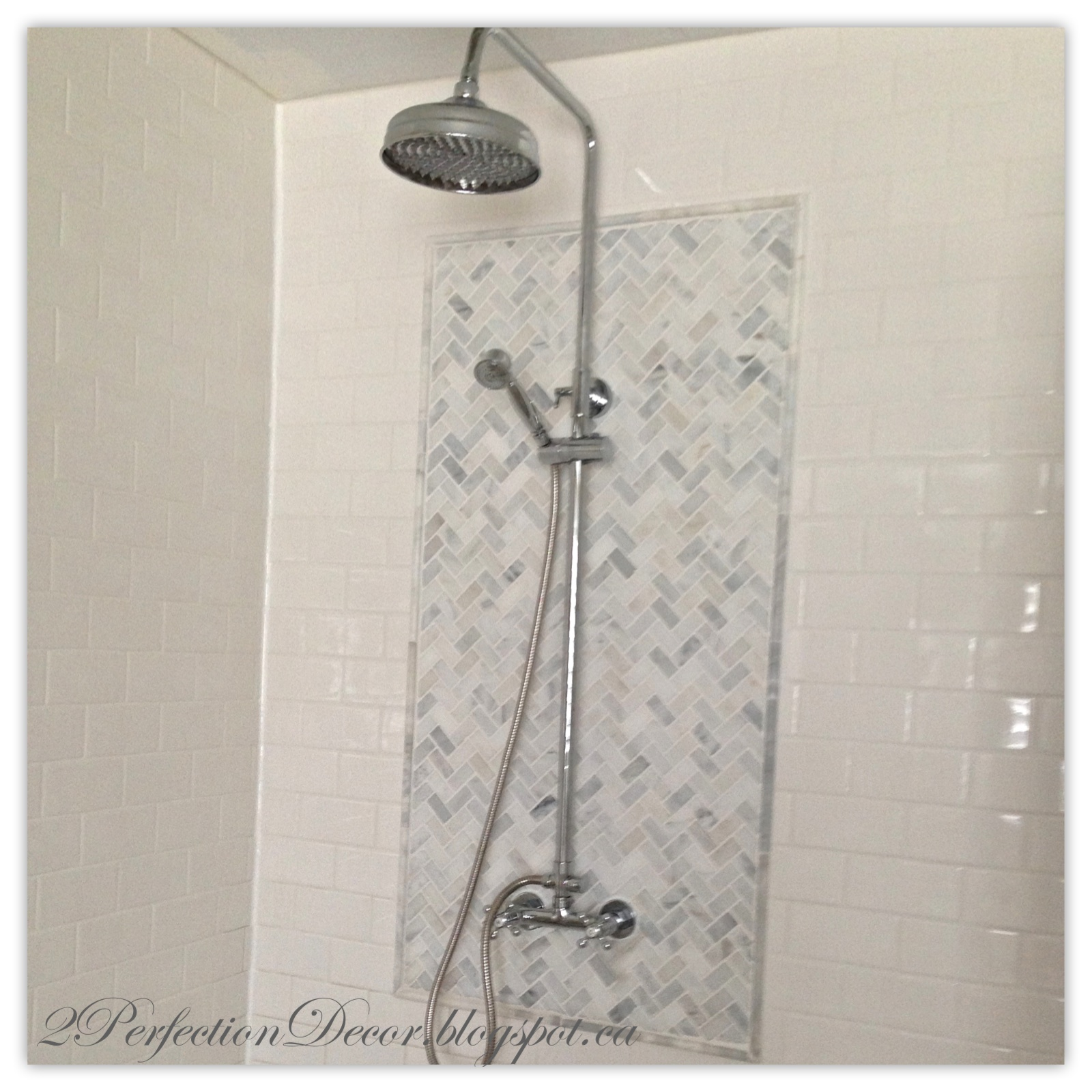 At first we were just going to keep the original shower light   crazy idea  right    But once we installed new shower faucet they were practically  touching. 2Perfection Decor  Master Ensuite Shower Reveal