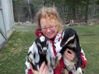 Bev holding two doelings