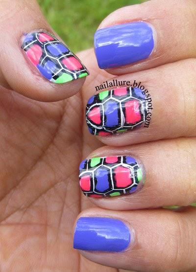 Neon Tortoise print Stamping Nail Art