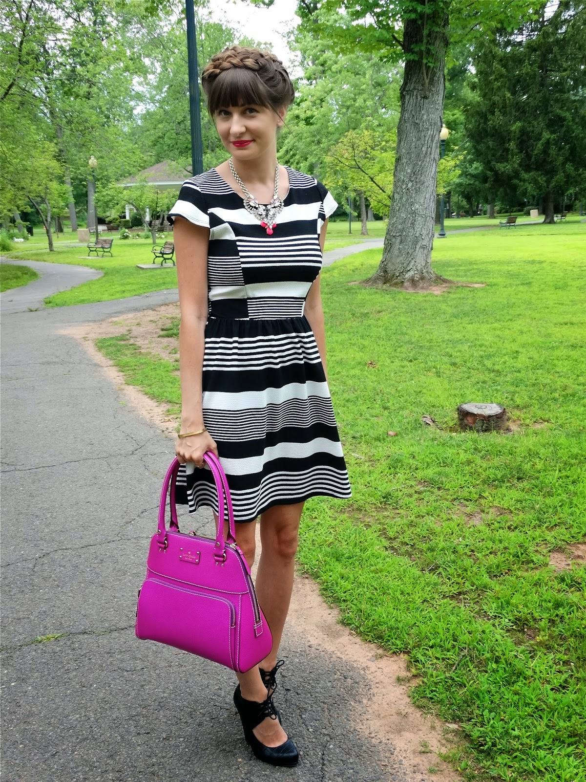 Black and White Striped Dress, Kate Spade New York Bag | www.houseofjeffers.com