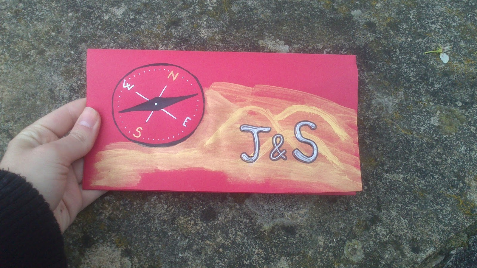 Crgc DIY tarjeta regalo boda J&S brújula