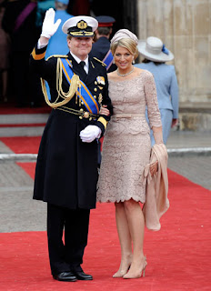Netherlands' Crown Prince Willem-Alexander and Princess Maxima arrive for the ceremony.