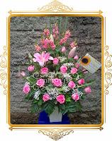 bunga mawar pink & lily