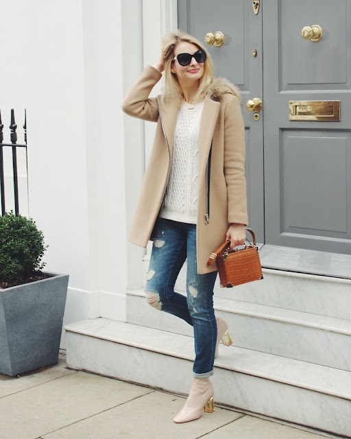 boyfriend jeans, public desire perspex boots, nude boots, dior style boots, cable knit, aspinal of london trunk bag, aspinal of london trunk clutch, chanel pearl sunglasses
