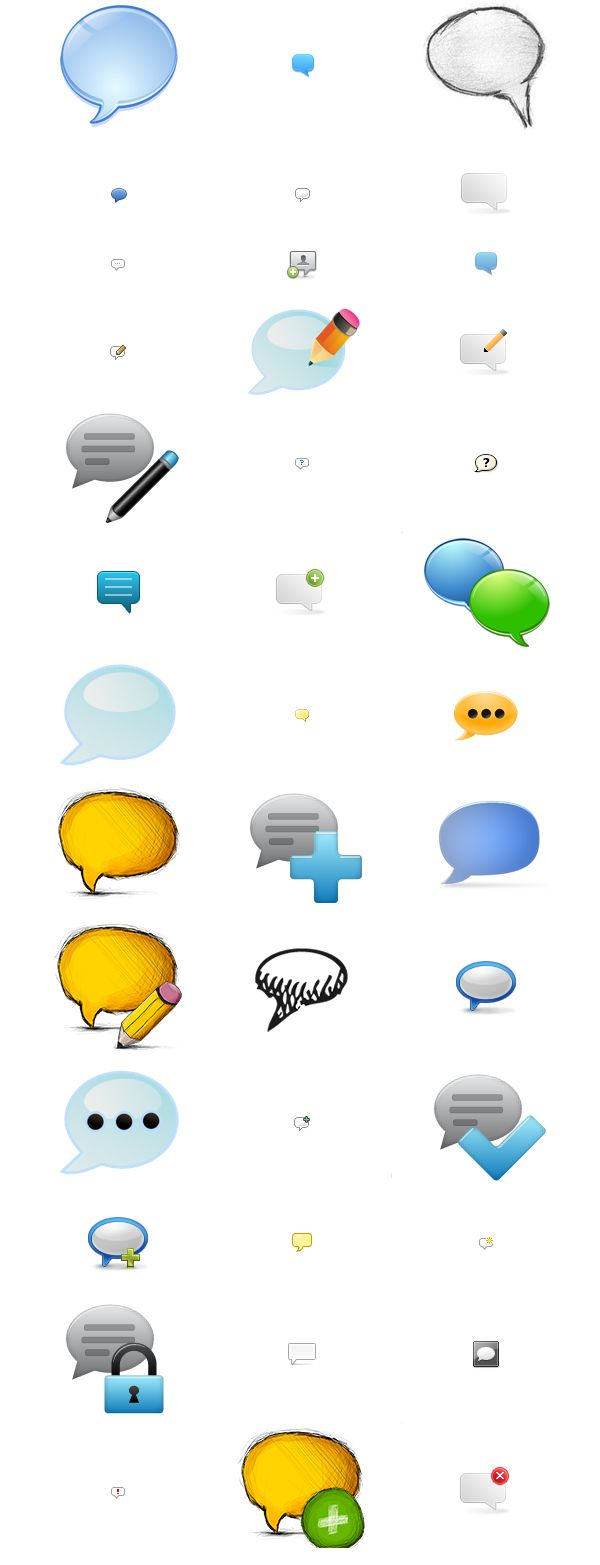 115 Free Comments Vector Icons Set Graphics Download