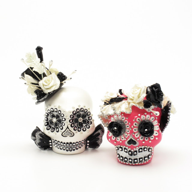 day of the dead wedding cake topper mexican skull 00116