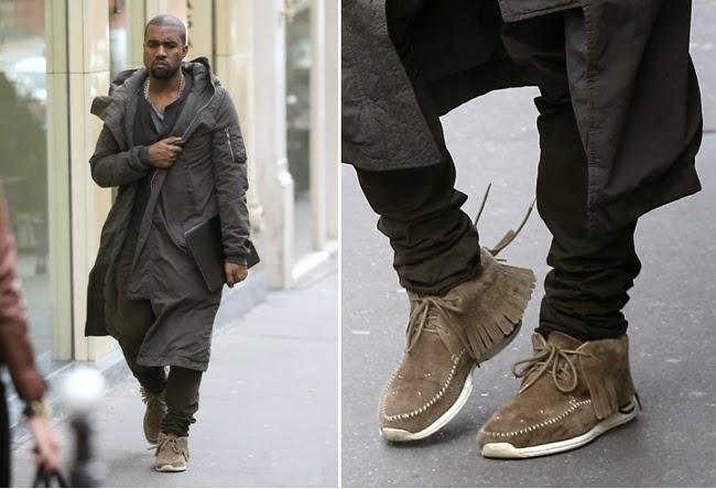 Kanye West en Paris con botas suede