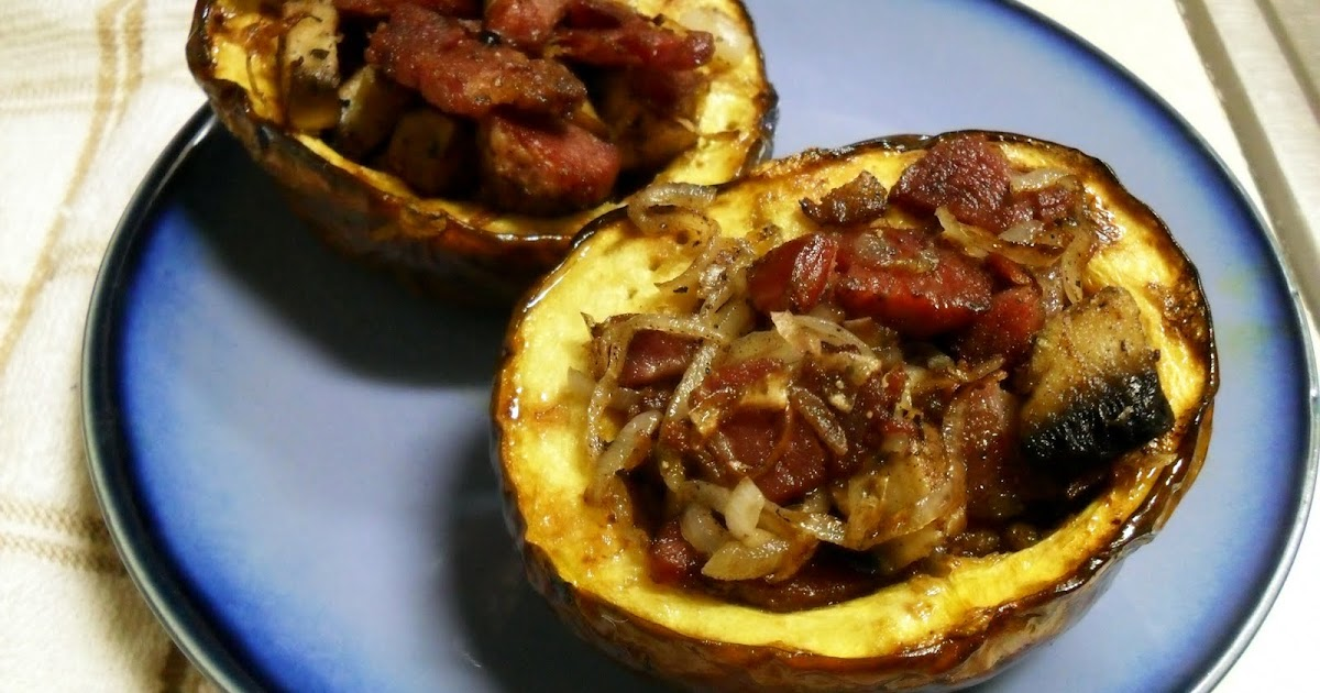 paleo: so easy, a grad student can do it.: Bacon Stuffed Acorn Squash