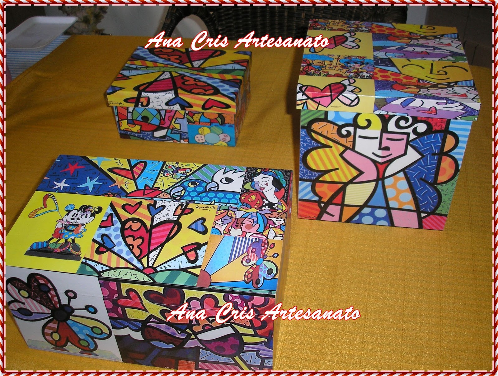 Ana Cris Artesanato: Caixa enfeite de mesa Romero Britto #713918 1600x1207