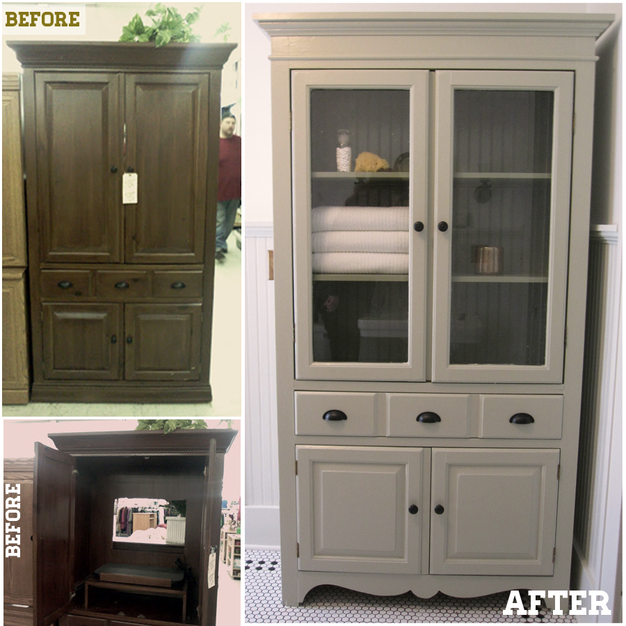 Keep smiling tv cabinet to linen cabinet for Bathroom linen cabinets