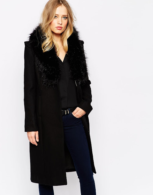 black coat fur collar, super trash black coat,
