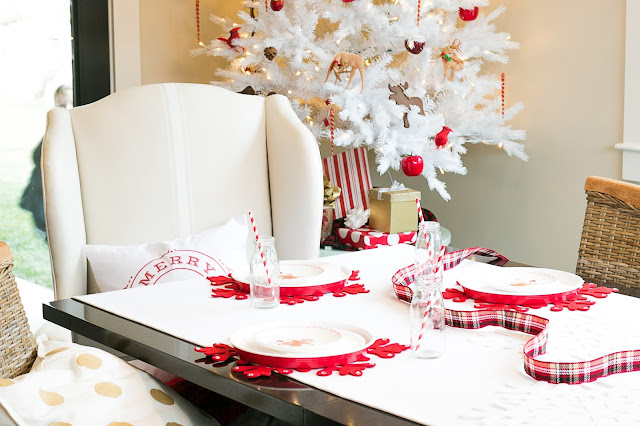 red and white christmas party decor