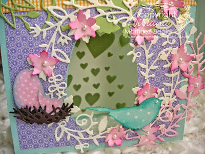 Bird tent card for mother's day detail