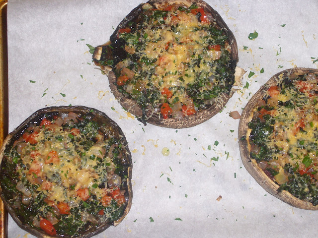 Gouda and Swiss Chard Stuffed Mushrooms