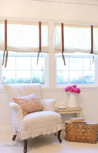 Diy drop cloth shades tutorial french country cottage and promised a little more info on how to make them yourself solutioingenieria Images