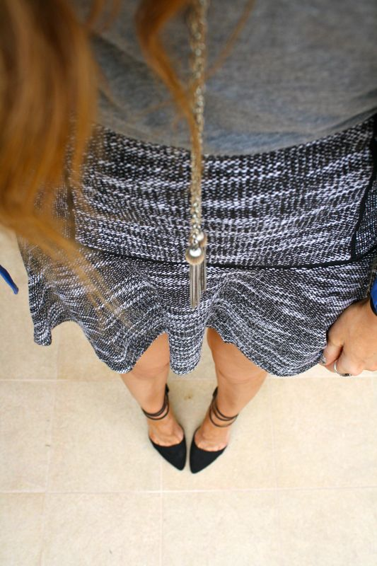 Blue Leather Jacket- Dolce Vita Tweed Skirt- JustFab Heels-LA Personal Style Blogger-Golden Divine Bllog