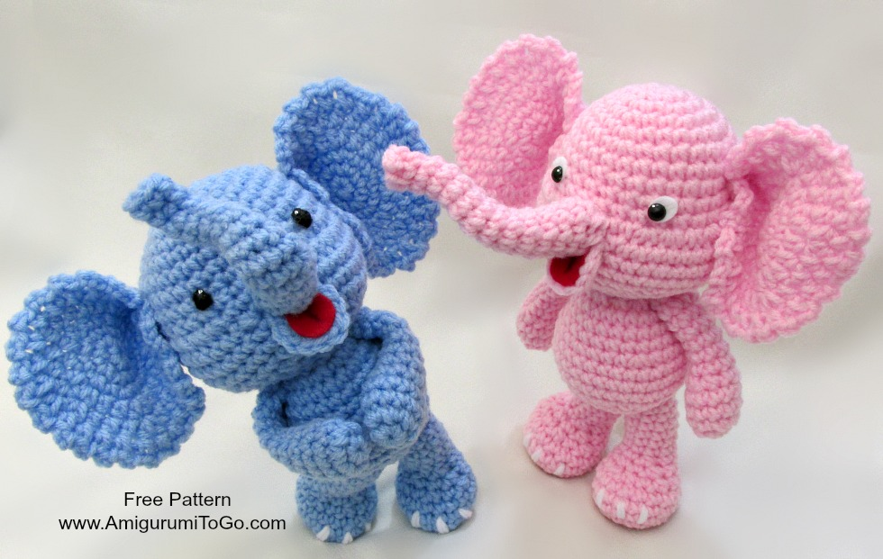 crochet elephant with trunk up