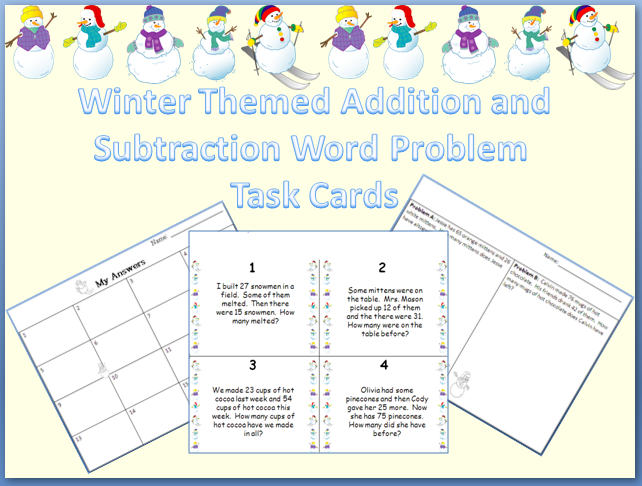 Winter themed double digit addition and subtraction word problem task