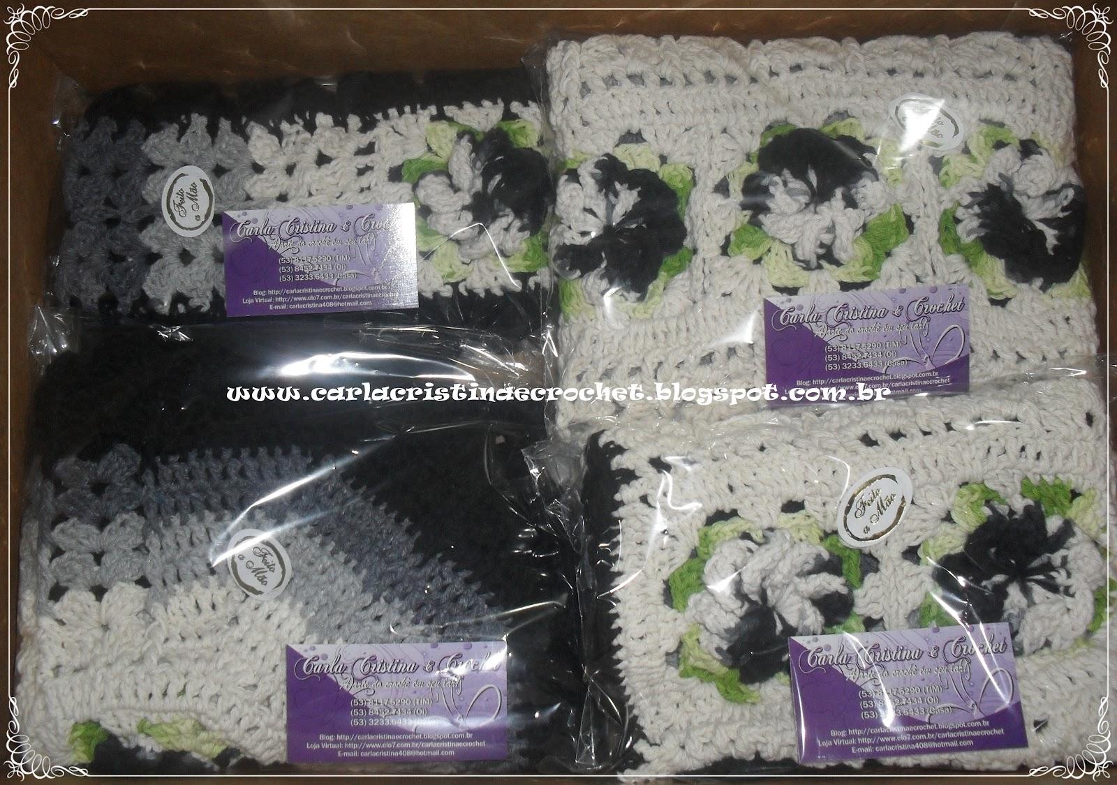 Carla Cristina & Crochet: Jogo de Banheiro em Degradê Cinza e Preto #5B4736 1600x1125 Banheiro Cinza E Preto
