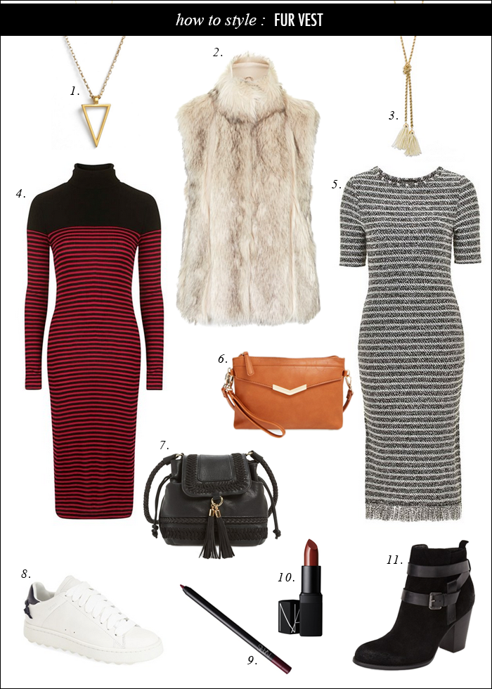fur vest, fall trends, stripes, body con dresses, bucket bags, what to wear fall, booties