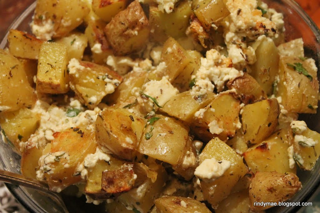 Rindy Mae: Roasted Greek Potatoes With Feta and Lemon