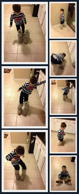 Little Boy walking around in moms shoes