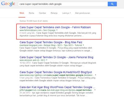 Cara Super Cepat Terindeks oleh Google
