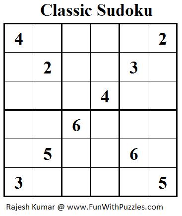 Classic Sudoku (Mini Sudoku Series #36)