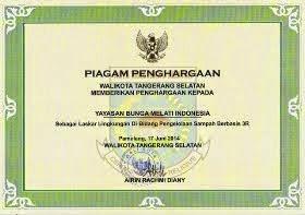 Piagam Penghargaan Walikota Tangerang Selatan