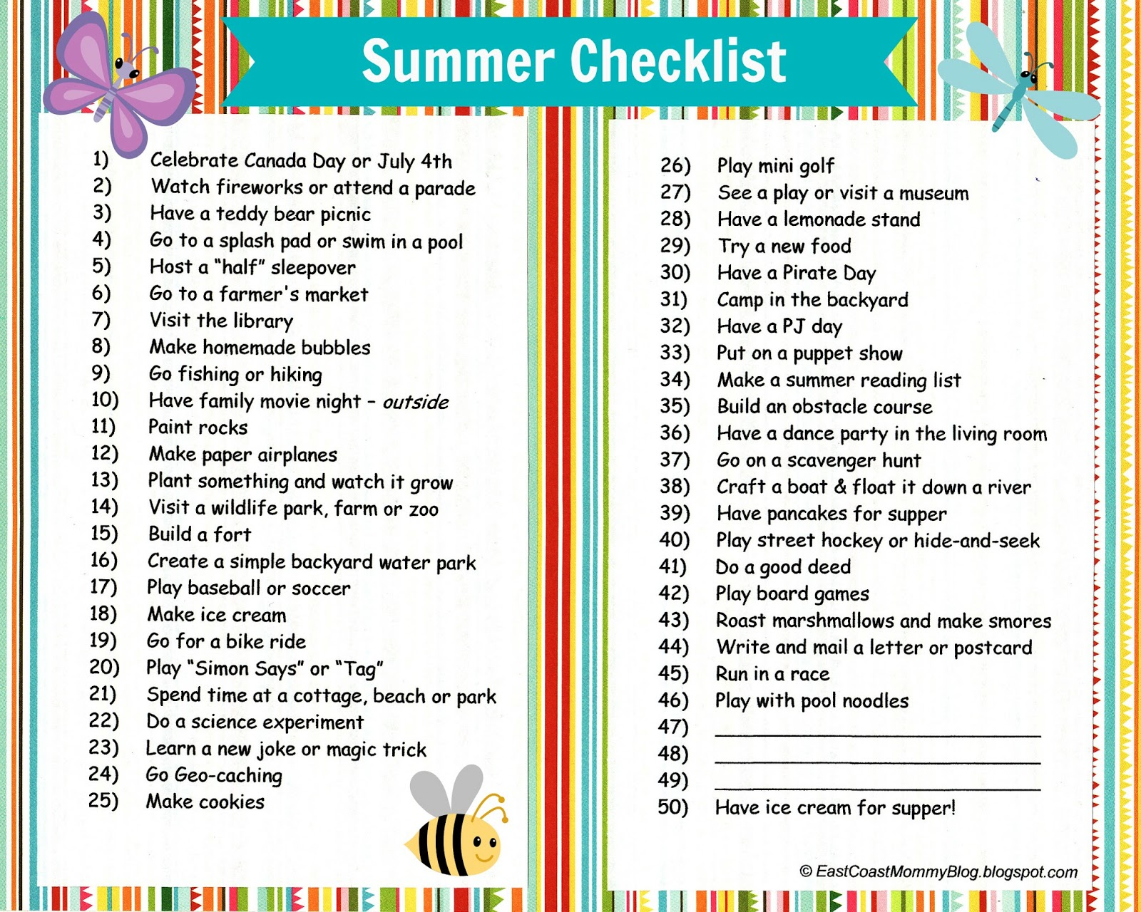 East coast mommy summer checklist with free printable for Fun things to do for christmas party