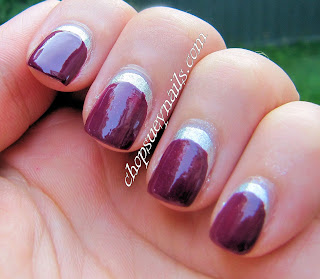 Silver Base with Purple Ruffian Manicure - Nail Art Challenge