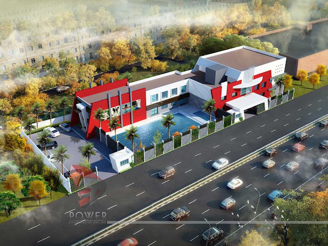 Bird Eye View Of Hotel,3d Architectural Rendering