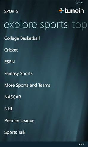 explore sports tunein radio