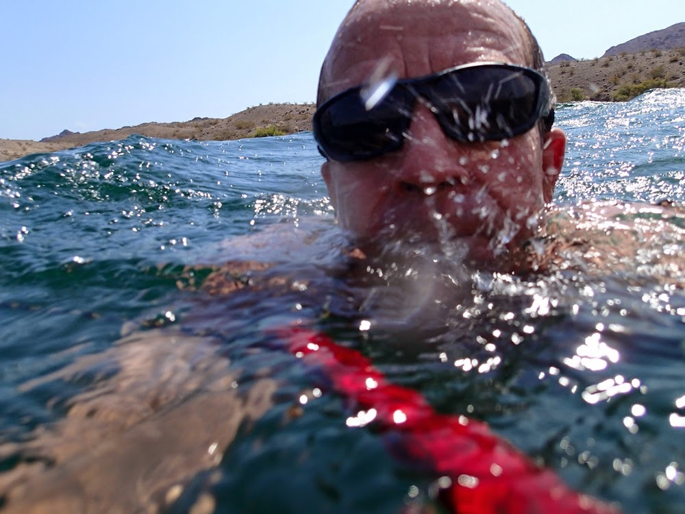 Swimming across Lake Mohave, July 2013