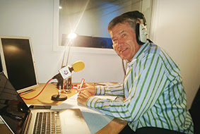 Tiff Needell, radio studio, Good Garage Scheme