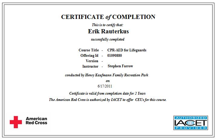 Erik Rauterkus Red Cross Certifications For Lifeguarding Needs