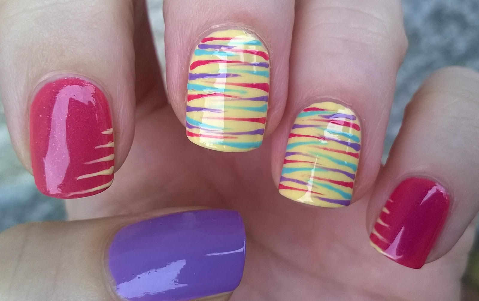 Life World Women Striping Brush Nail Art Stripes In Pink Yellow