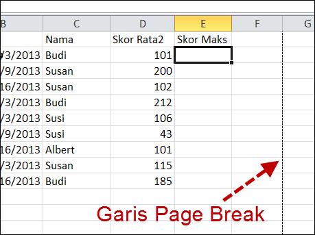 Menghilangkan Garis Page Break di Excel 2010