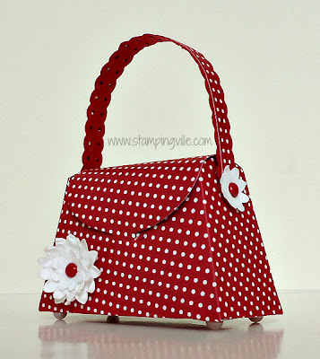 Red Polka Dot Petite Purse with Boho Blossom Flower Big Shot Project