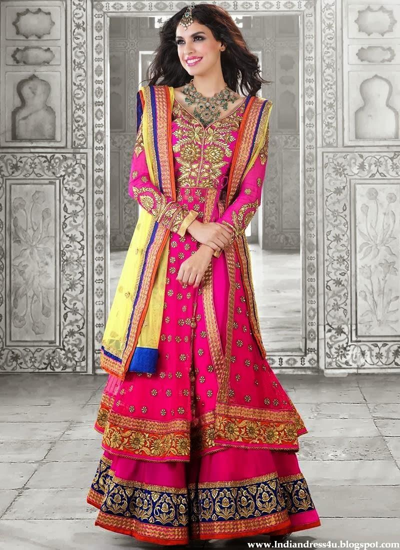long designer wedding anarkali dresses 2014 beautiful