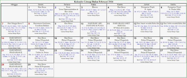 ... Theresia (SanTher) - Patria Jaya: Kalender Liturgi Bulan Februari 2016