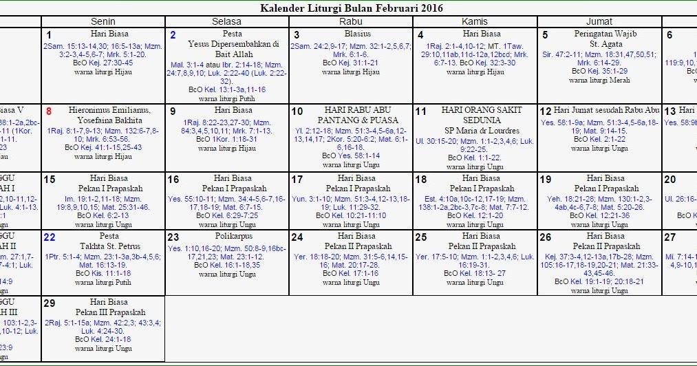 ... (SanTher) - Patria Jaya dsk.: Kalender Liturgi Bulan Februari 2016