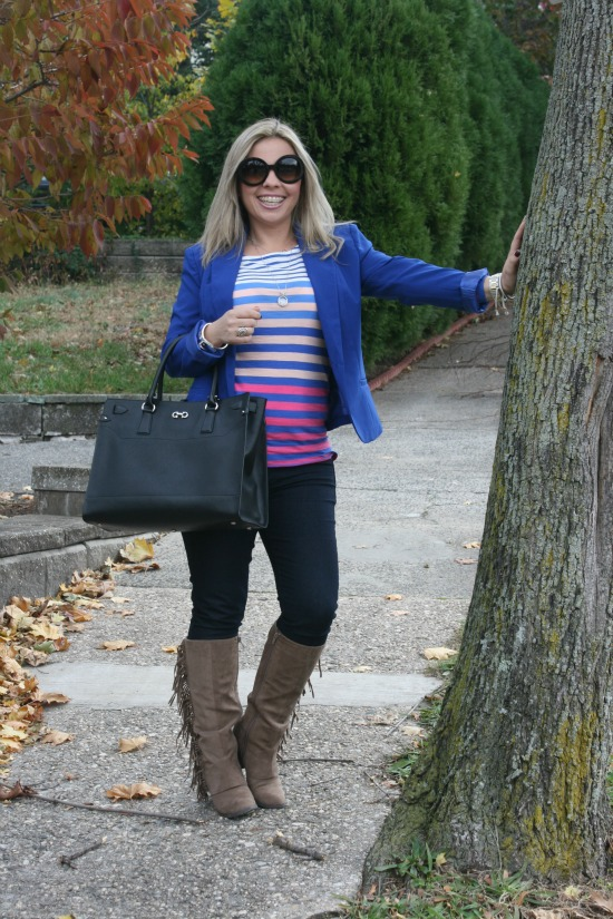 Blue blazer from Love Culture, Colorful striped shirt from American Eagle, Blue skinny jeans from Rich & Skinny, Brown fringed Lucy Boot from Fergalicious, Baroque Round sunglasses from Prada, Mid-Size Silver Color Golden Stainless Steel Camille Chronograph from Michael Kors, Sterling Silver Buckle Bracelet from David Yurman, Briana Large Tote from Salvatore Ferragamo