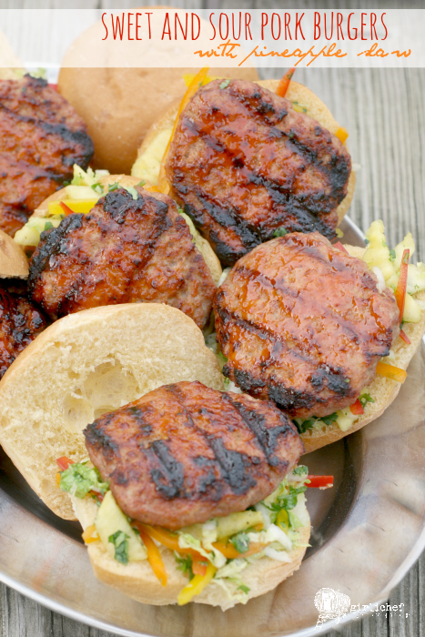 Sweet and Sour Pork Burgers with Pineapple Slaw