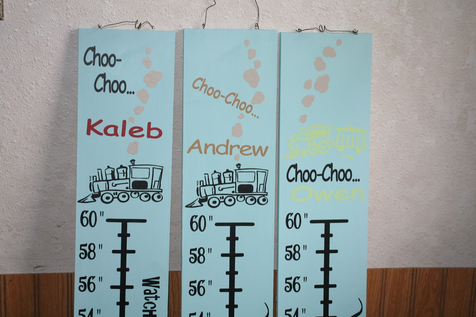 Decorating with wall vinyl personalized growth charts wall vinyl we had the privilege of making growth charts for 3 precious brothers lately we used the train themed growth chart each boardchart was personalized with nvjuhfo Choice Image